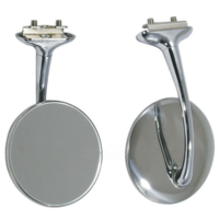 CHROME RETRO STYLE 4 INCH LONG ARM PEEP MIRRORS PAIR OF