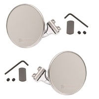 RETRO STYLE STAINLESS STEEL 4 INCH SHORT PEEP MIRRORS PAIR OF