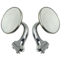 RETRO STYLE STAINLESS STEEL 3 INCH SHORT PEEP MIRRORS PAIR OF