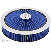 EXTRA FLOW BLUE AIR CLEANER FILTER ASSEMBLY 14X3 RECESSED BASE HOLLEY 5-1/8