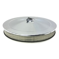 CHROME AIR CLEANER FILTER ASSEMBLY 14X2 RECESSED BASE HOLLEY 5-1/8