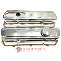 HOLDEN V8 253 308 CHROME ROCKER COVERS PLAIN WITH PUSH IN CAP